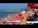 Море голых загорелых людей. Аншлаг на пляже в августе. Лазаревское, Sochi. RUSSIA