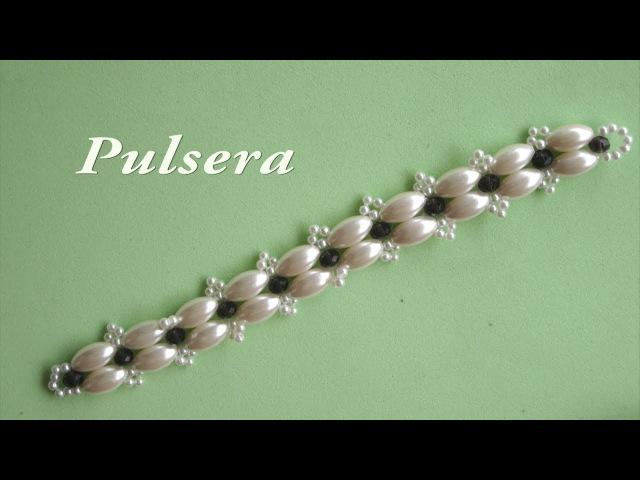 DIY Pulsera fácil con arroces gigantes y cristalitos