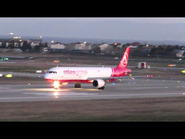 Atlasglobal Airbus A321 Istanbul Ataturk Airport take off dusk