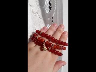 Комплект браслетов-талисманов на спандексе из Сердолика Богатство и Любовь