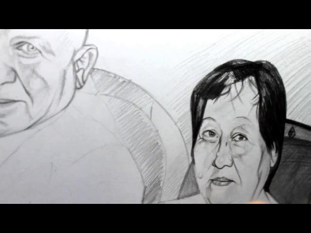 Artist Sabyrzhan Tulepkereyev 26/02/2015 pencils Kooh-i-Noor (1) GGG with parents