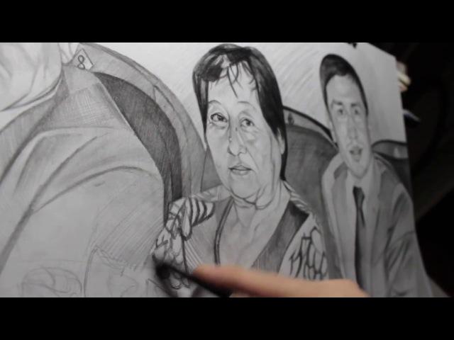 Artist Sabyrzhan Tulepkereyev 26/02/2015 pencils Kooh-i-Noor (3) GGG with parents..
