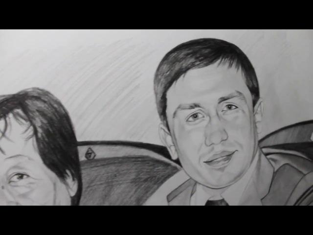 Artist Sabyrzhan Tulepkereyev 26/02/2015 pencils Kooh-i-Noor (4) GGG with parents
