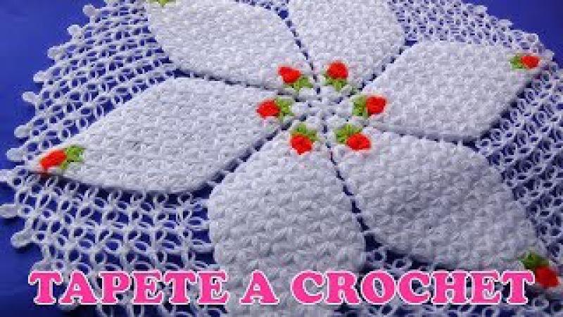 Tapete a crochet con rositas en punto jazmín y espuma de mar paso a paso
