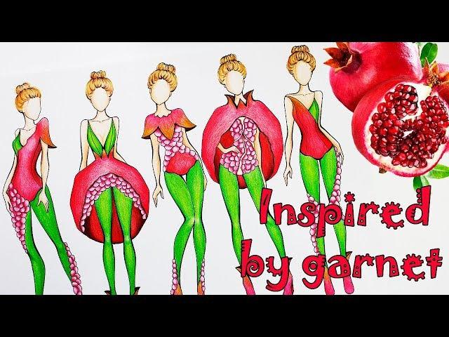 РИСУЕМ ЭСКИЗЫ ОДЕЖДЫ, вдохновение фруктами, ГРАНАТ Fashion illustration, speedpaint