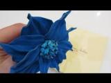 Брошь из голубой замши