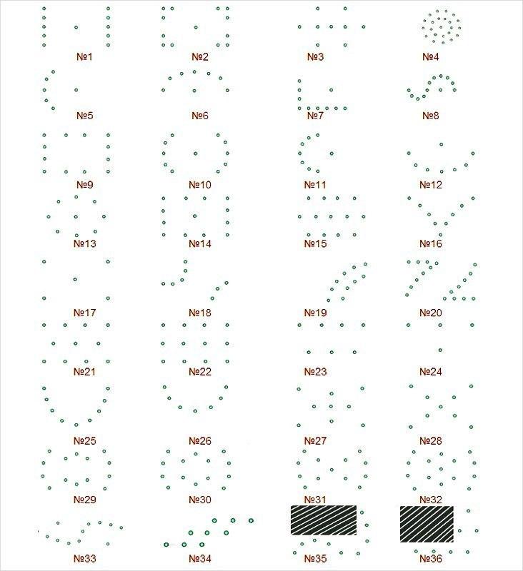 Варианты схем расположения светильников