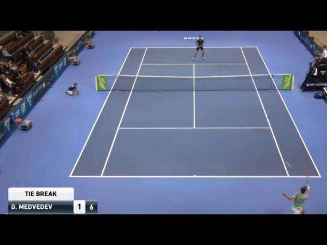 Medvedev vs Maden   Brest Challenger 2017 Set 1 Tie Break Ft. Racket Smash and Umpire Fight