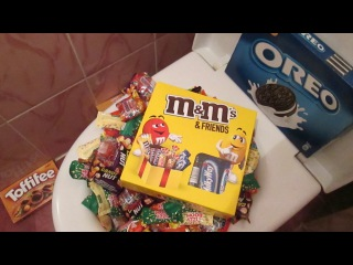 A LOT OF CANDY in the TOILET 2 | Skittles, Twix and MM's Chocolate | Restroom Candy at WC