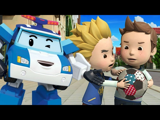 Çizgifilm RobocarPoli Trafik Kuralları. Güvenli topu oynama. Türkçedublaj. Animasyon filmi