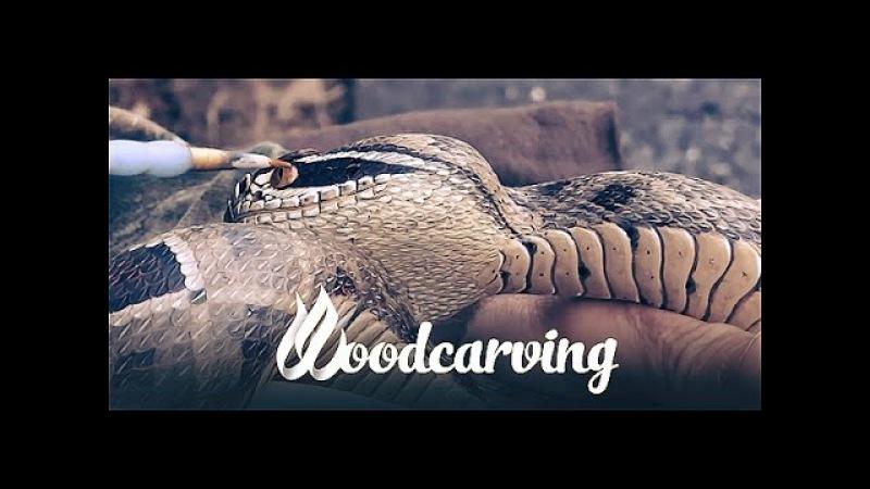 Woodcarving Cobra Snake ►► Змея Кобра Урок Резьба по дереву Part 2