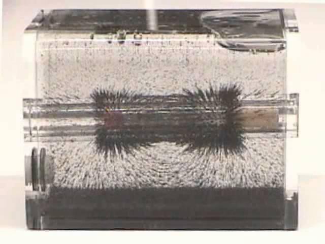 Притяжение железных опилок магнитом