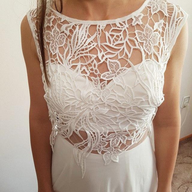 Белое платье в пол с элементами кружева от Ever Pretty