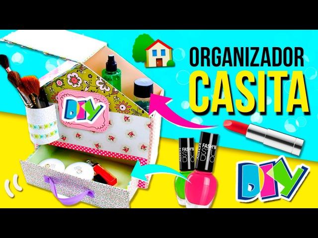 🏡 ORGANIZADOR de ESCRITORIO de cartón en forma de CASITA * 🏡 Ideas fáciles DIY