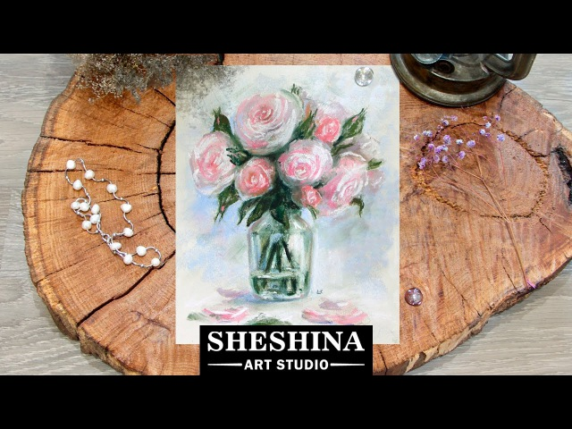 How to draw roses in glass vase with soft pastels 🎨 Flowers