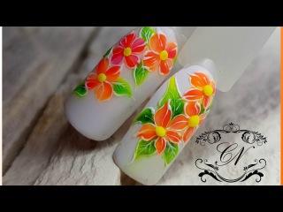 """Простой дизайн ногтей """"Тропические цветы"""" Плотные неоновые гель лаки"""