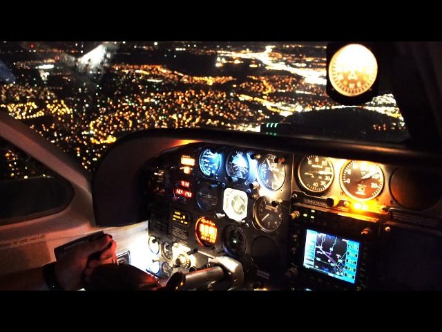 Cessna 414 Chancellor   Night Flight Over Austin   Sony A7s