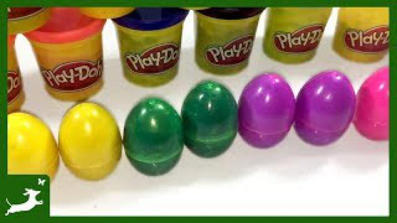 Bóc trứng đất sét Play doh chú khủng long tốt bụng cùng với gia đình khủng long Learn Color