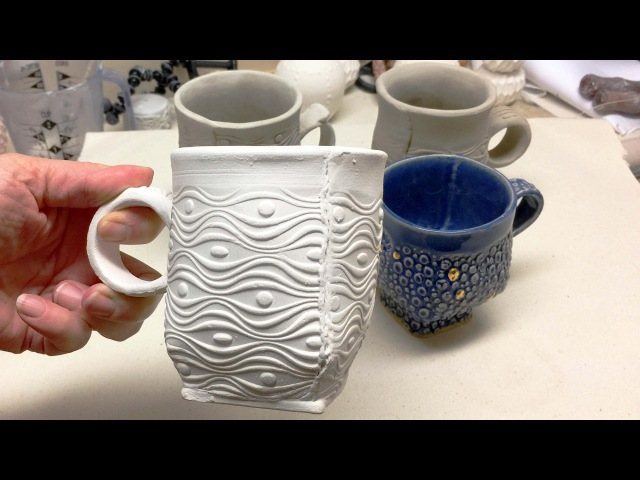 Creating a Round Slab Cup with a Darted Squared Base From a Textured Slab with a Focal Accent