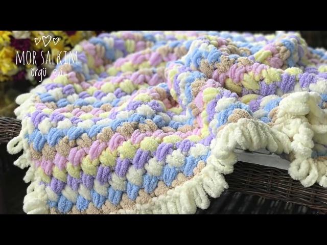 Alize Puffy battaniye kenarına saçak nasıl yapılır ? baştan sona anlatım- bebek battaniyesi
