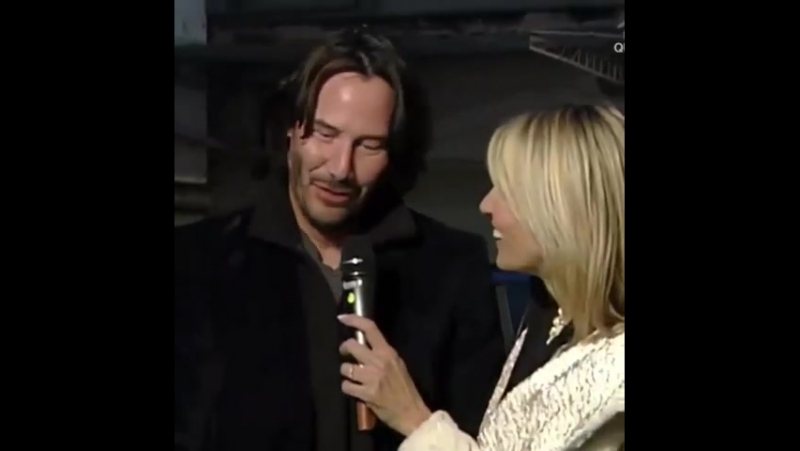 Keanu in San Remo 2017 wit Italian tv reporter for RAI1 Rosanna Cacio