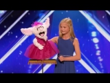 12-летняя девочка чревовещатель спела за свою куклу-кролика на шоу Америка ищет таланты