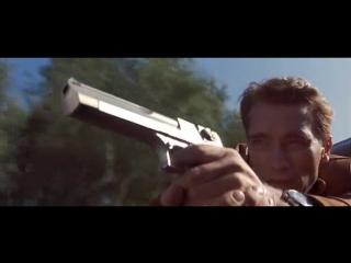 Отрывок из фильма Последний киногерой / Арни отжигает под песню Big Gun. Погоня