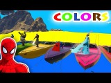 BEST LEARNING COLORS VIDEO BOATS w Spiderman for kids and Superheroes cartoon for babies Children