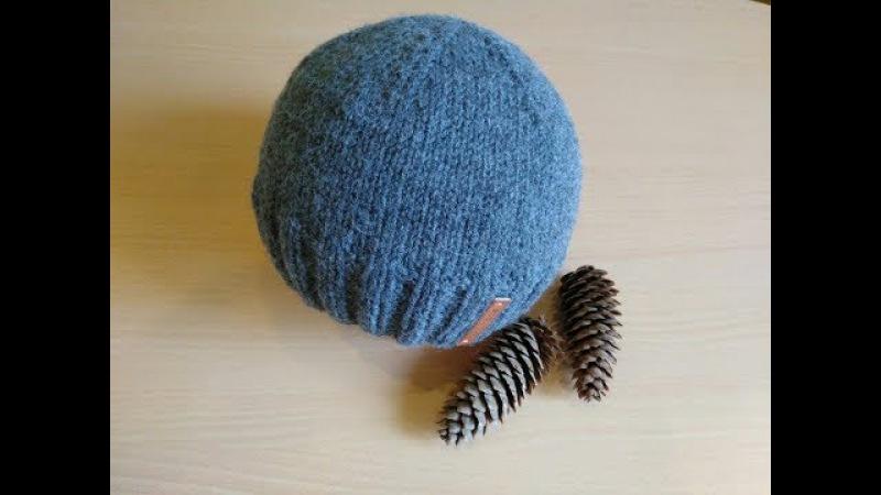 Демисезонная мужская шапка шестиклинка спицами. Мастер-класс.