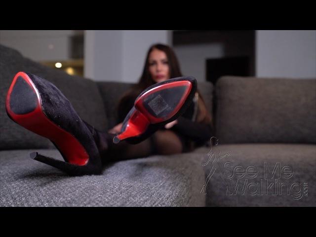 Brunette in sexy Stockings and high heels Red bottoms and nylon stockings Trailer » Freewka.com - Смотреть онлайн в хорощем качестве