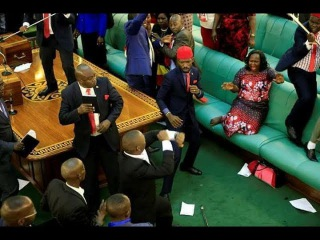 BOBI WINE PUNCHES SFC ' FIGHT IN PARLIAMENT