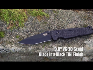 Aggressive design with a vg-10 blade, smooth operating arc-lock, grn handle with steel liners.