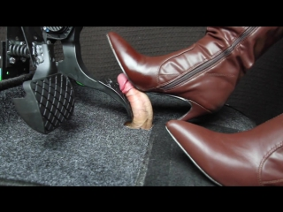 Gas pedal bootjob / shoejob / cock crush / foot fetish