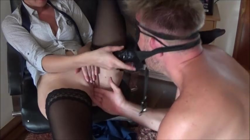 Double Penetration with Big Strap on in Ass and Cock in Pussy and squirting