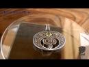 Подвес Лунница с крином . Серебро, хризолит