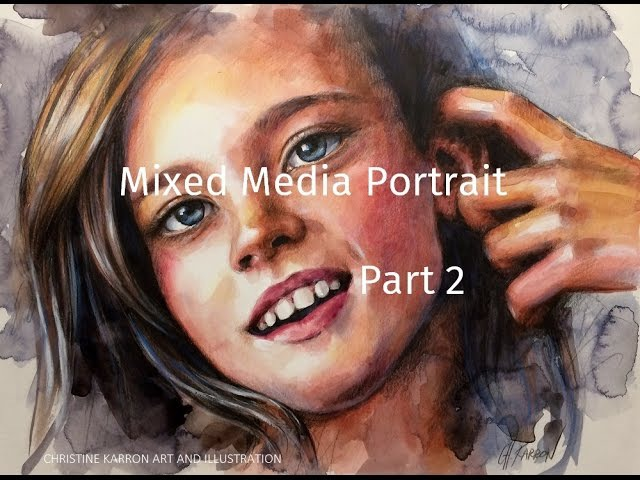 Mixed Media Portrait Part 2 colored pencils Demo by Ch.Karron