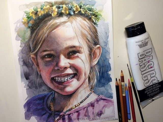 Adding colored pencils acrylic to watercolor portrait mixed media demo by Ch.Karron