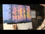 How To Paint A Forest At Sunset 2 Painting lesson class acrylics course