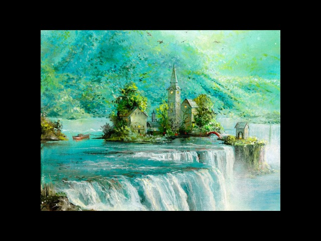 ''Turquoise Falls'' by Akiane painted under 100 minutes