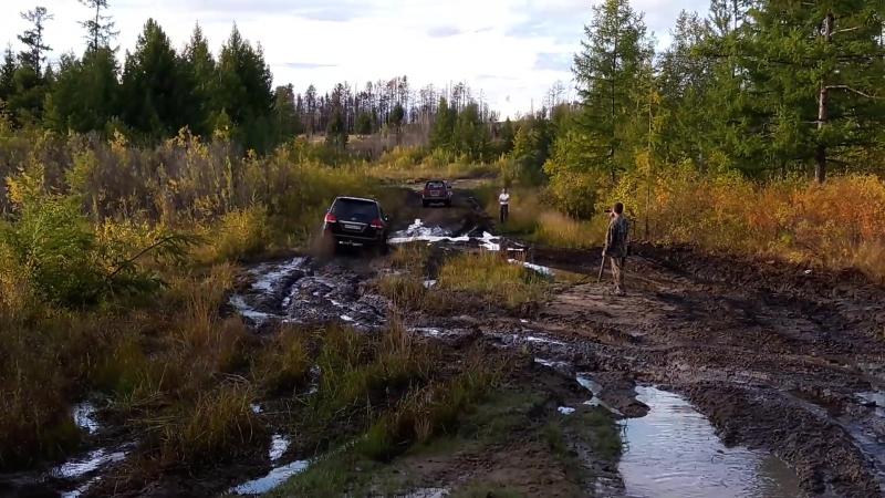 Внедорожник Lexus и Toyota Land Cruiser 200 по грязи
