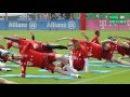 FC Bayern Stars beim Stretching mit blauen Matten (Training Teil 1)