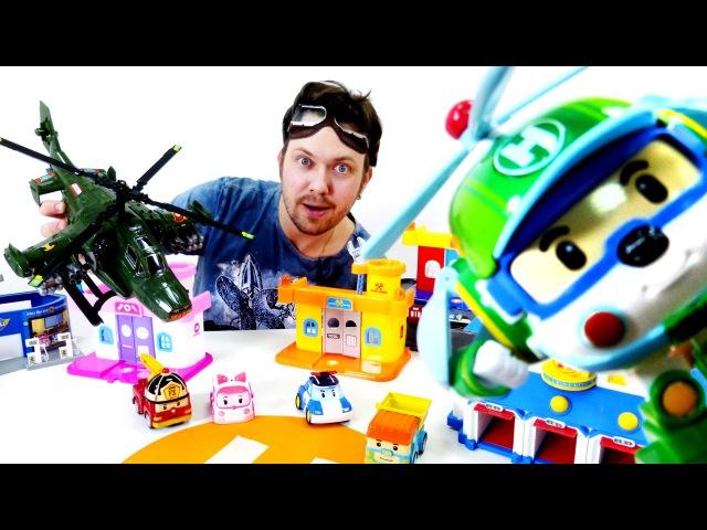 Видео для детей: Гараж Алекса! Робокар Поли и военный вертолет. Видео Машинки
