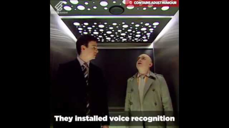 Voice recognition lift (courtesy BBC Scotland) with subtitles....