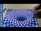 Black Hole in Blue Chess 3D Trick Art on Paper, Long Version
