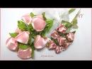 БУТОНЫ РОЗ 🌹канзаши из атласных лент МК Rose Buds🌹 Satin Ribbon Tutorial