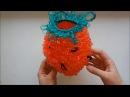 Вяжем мочалку-ягодку крючком вытянутыми петельками.