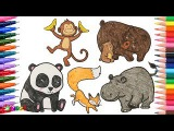 Teach Drawing Animals to Kids, Painting Panda, Monkey, Hippo potamus, Fox, Bear, Coloring Pages Crab