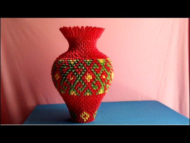 How to make 3d origami vase - làm lọ hoa origami 3d v2