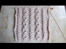 Узкие дорожки из японских шишечек Вязание спицами Видеоурок 147