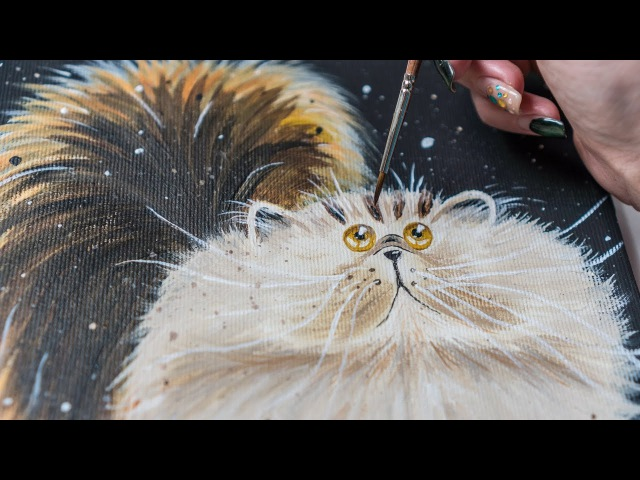 A Big Fluffy Cat by picture Kim Haskins artist - Acrylic painting (4k)